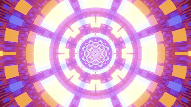 Symmetric abstract tunnel formed with geometric bright neon ornament