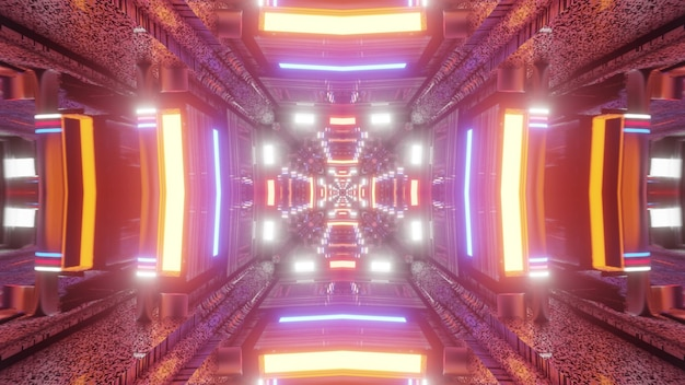 Symmetric abstract tunnel illuminated with bright colorful neon lamps 4k uhd 3d illustration