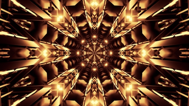 Symmetric abstract tunnel with crystal ornament glowing with golden neon light