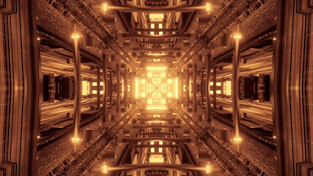 Symmetric cross shaped tunnel with abstract ornament shining with golden neon light 4k uhd 3d illustration