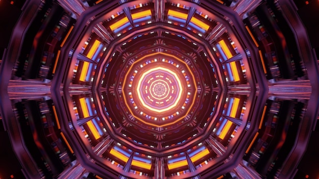 Symmetric geometric ornament glowing with multicolored lights and forming abstract tunnel 4k uhd 3d illustration