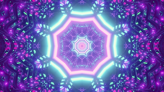 Symmetric illustration of bright blue and violet neon lines forming octagon tunnel and repetitive abstract ornament