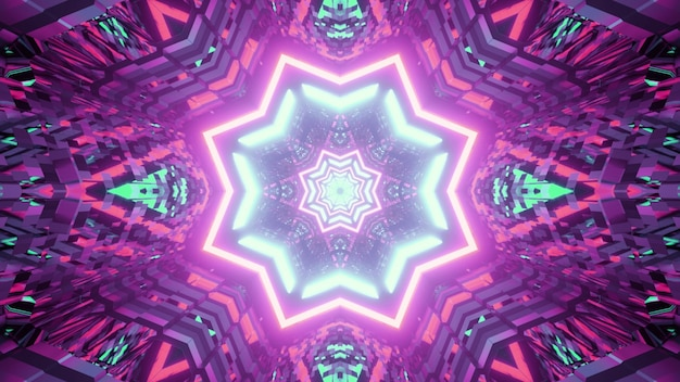 Symmetric illustration of star shaped neon ornament shining inside abstract tunnel with distorted walls