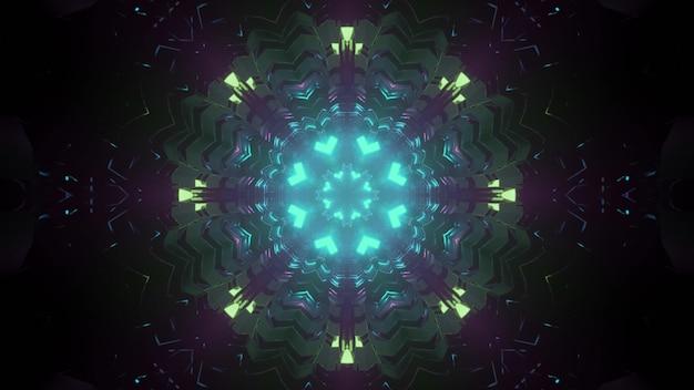 3dイラストとして未来的なパターンのネオン光るイルミネーションと対称的な万華鏡のような回廊
