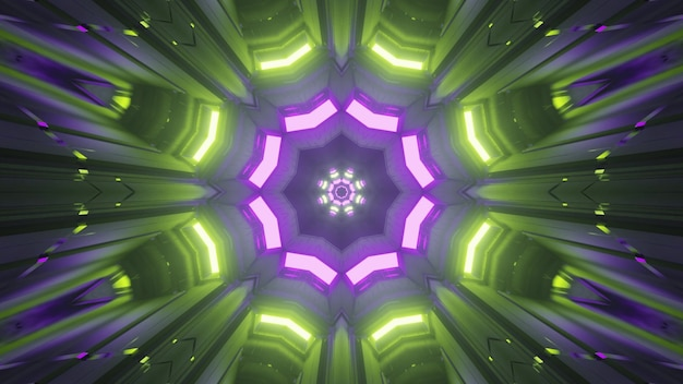 Symmetric kaleidoscopic crystal shaped ornament shimmering with bright green and purple neon lights inside abstract futuristic tunnel in 4k uhd 3d illustration