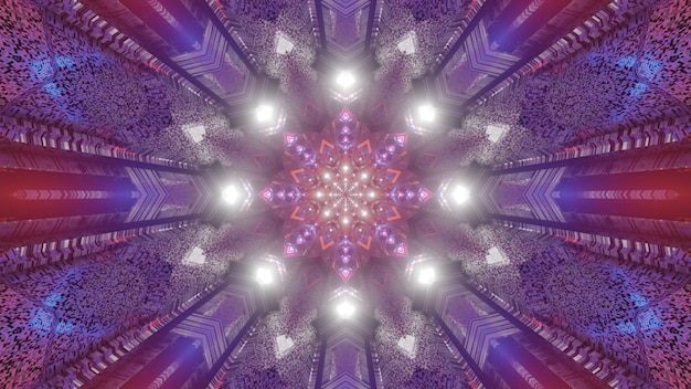 Symmetric kaleidoscopic ornament illuminate with glowing vivid neon lights 4k uhd 3d illustration