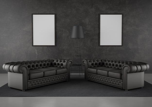 Симметричная гостиная с черной стеной и мебелью