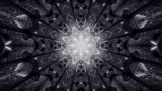 Symmetric monochrome tunnel with kaleidoscopic ornament shimmering with neon lights 4k uhd 3d illustration