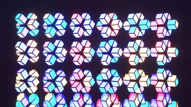 Symmetric pattern of colorful blocks 4k uhd 3d illustration