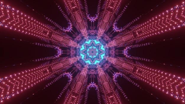 3dイラストのsf宇宙トンネルの抽象的な未来的なデザインとして光る青い中心と円形のパターンを形成する対称的な赤い色のネオンライト