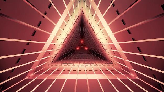 직선과 네온 조명이있는 붉은 색의 대칭 삼각형 터널