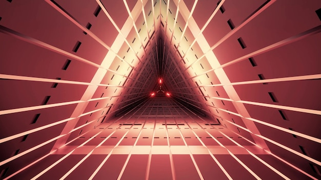 Symmetric triangle tunnel of red color with straight lines and neon illumination