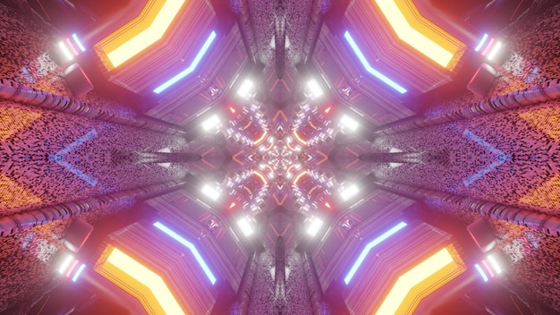 Symmetric tunnel with abstract ornament shimmering with colorful neon lights 4k uhd 3d illustration