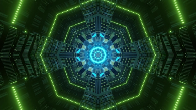 Symmetric vivid neon lights forming octagon shaped ornament inside tunnel