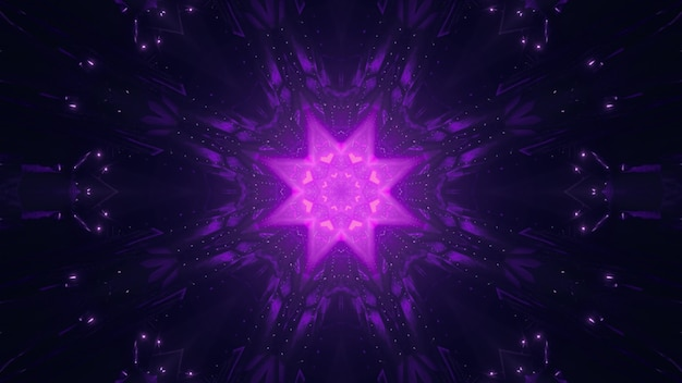 Symmetric vivid star shaped ornament shining with neon violet light