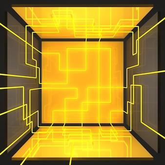 노란색과 회색 벽이 있는 대칭적인 밝은 상자 방. 밝고 풍부한 노란색 네온 광선을 형상화한 라인. 3d 그림입니다.