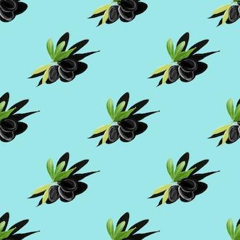 Симметричный рисунок гуашью ветви оливкового дерева с тенью на бирюзовом. плоская планировка. минимальная изометрическая текстура пищи. ручная роспись ботанических иллюстраций для текстиля, тканей, меню, ресторанов.