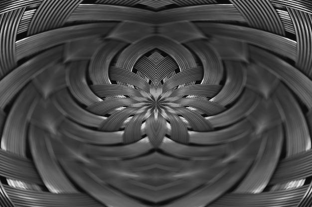 대칭은 금속 고리 버들 세공 텍스처 클로즈업입니다. 볼륨 철강 표면의 세부 배경입니다. 매크로에서 추상 회색 꼰된 철사입니다.