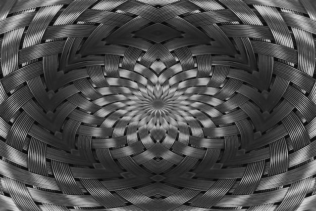 Symmetrical silver metallic wicker texture close-up