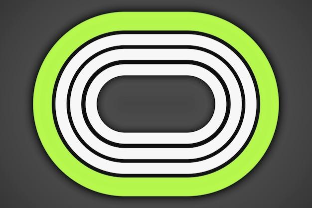 灰色の背景、テキスト用のスペースに対称的な白と緑のストライプ。立体画像