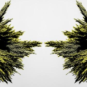 Симметрия зеленой металлической стружки на белом фоне