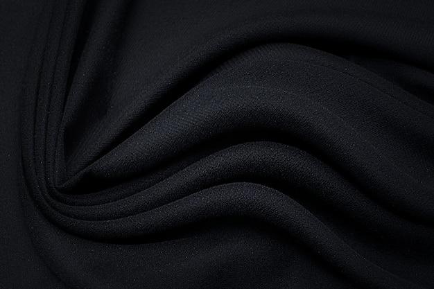 Синтетическая ткань. черный цвет. текстура, фон, узор.
