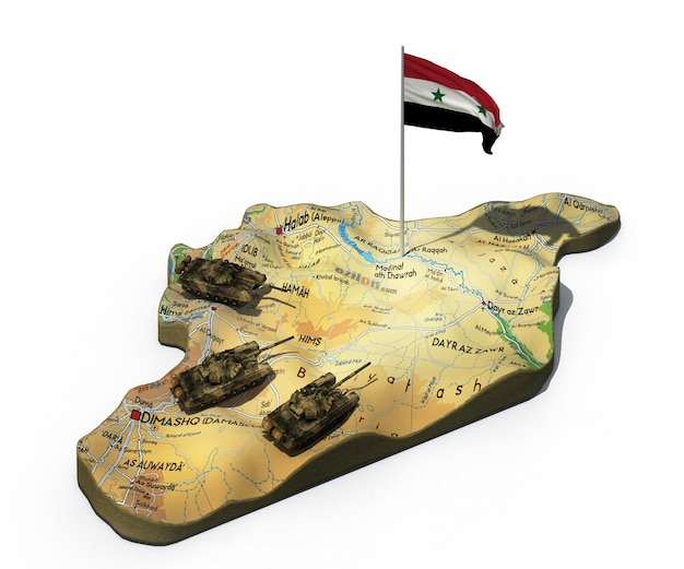 Syria map with tanks and flag