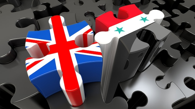 Syria and united kingdom flags on puzzle pieces. political relationship concept. 3d rendering