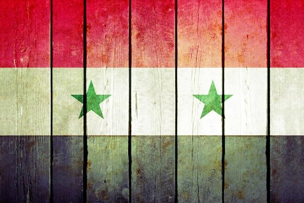 Syria wooden grunge flag.