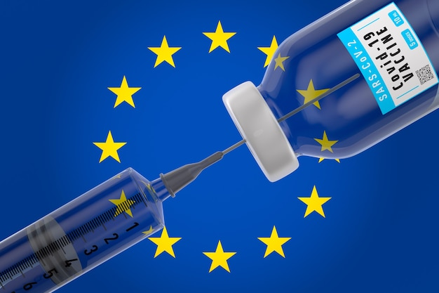 Covid-19 및 플래그 eu의 주사기와 백신. 3d 일러스트레이션