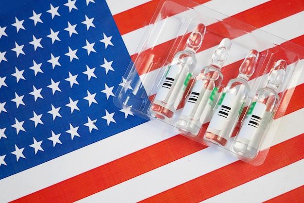 미국 국기에 백신 주사기