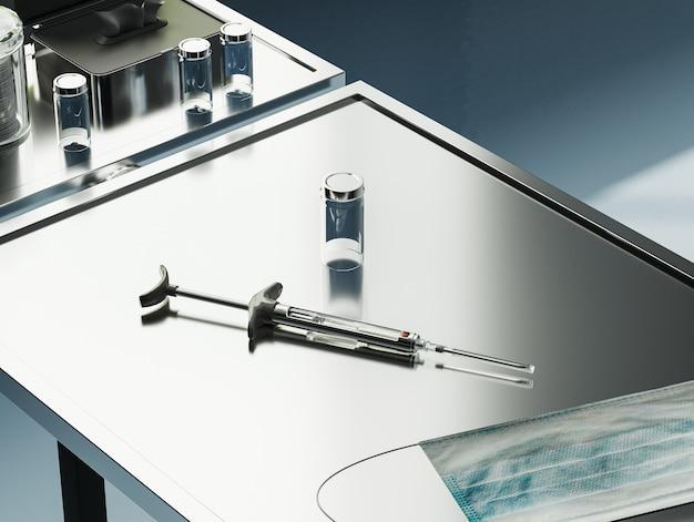금속 의료 테이블 예방 접종에 백신 바이알 병 주사기