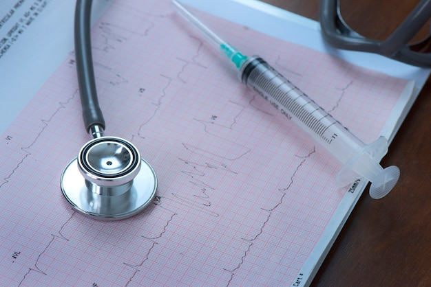 Syringes and stethoscope are on heart wave chart