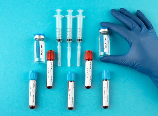 Syringes and vials arrangement top view