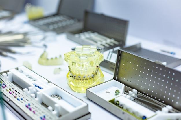 System of dental brackets at dentist office.
