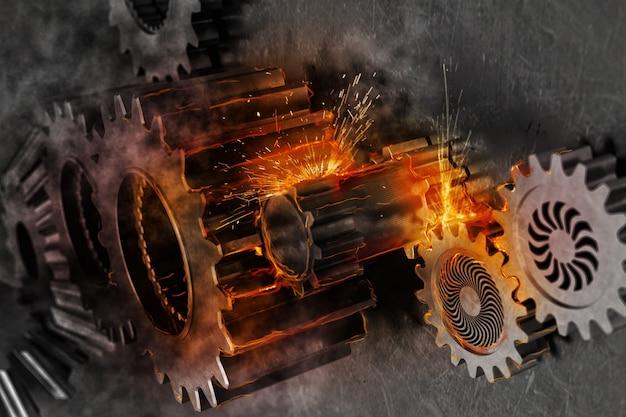 メカニズムギアのシステムは火の火花と一緒に動きます。 3dレンダリング