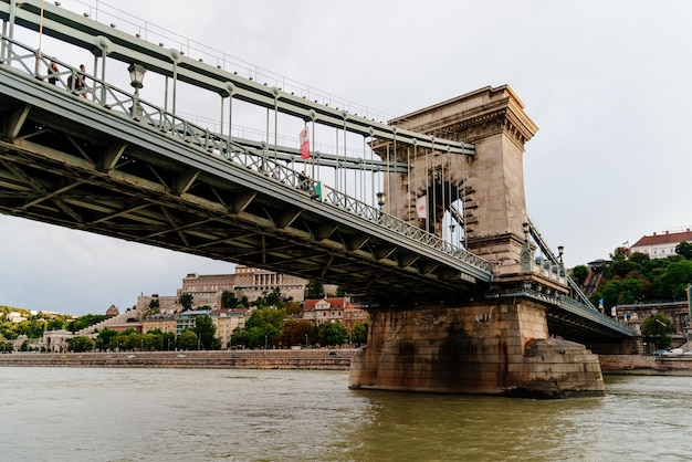 Szechenyi chain bridge, danube, budapest, hungary