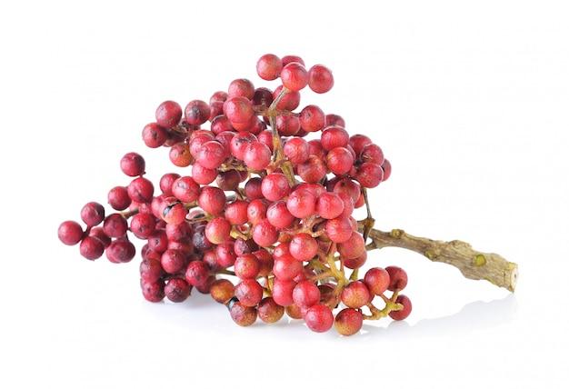Szechuan pepper (zanthoxylum piperitum), fruits isolated against white