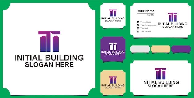 Концепция дизайна логотипа буква t здания