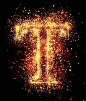 T文字の火花は黒に分離されています