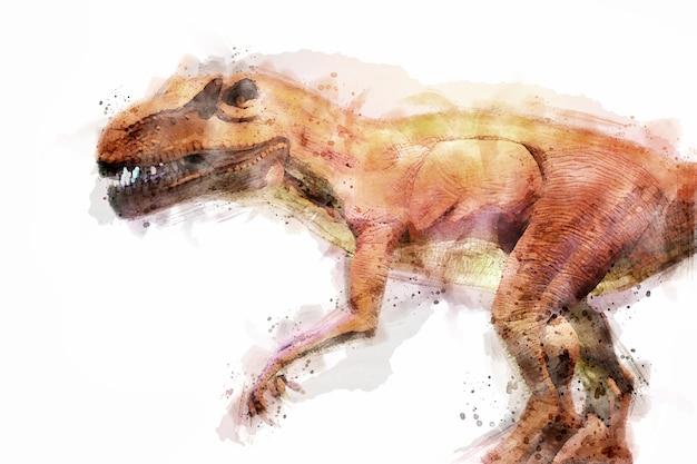 T-rex 공룡 흰색 배경에 고립입니다. 수채화 스타일입니다.
