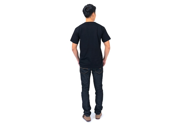 T-shirt design, young man in black t-shirt isolated on white