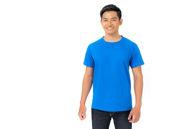 T-shirt design, young man in blue t-shirt isolated on white background