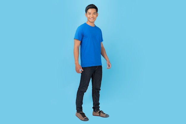 T-shirt design, young man in blue t-shirt isolated