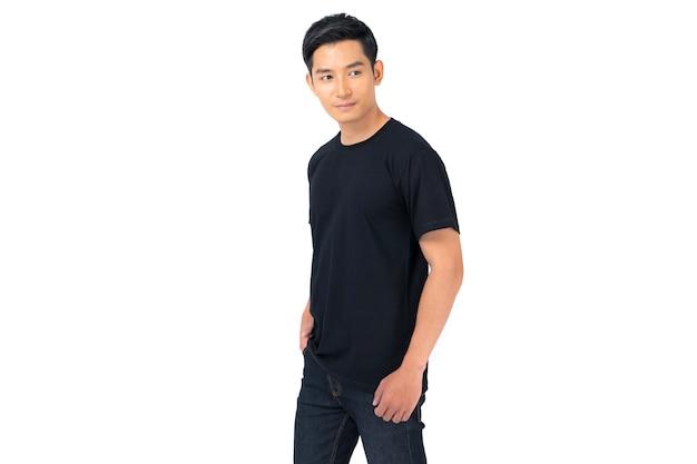Tシャツのデザイン、黒のtシャツの若い男が分離