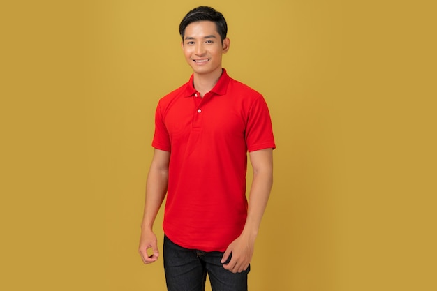 T-shirt design, young man in red shirt isolated on orange