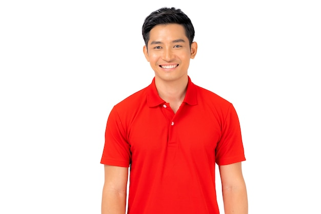 T-shirt design, young man in red shirt isolated on white