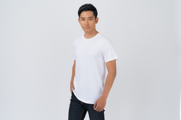 T-shirt design, young man in white t-shirt isolated on white background