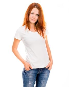 白いtシャツの女の子
