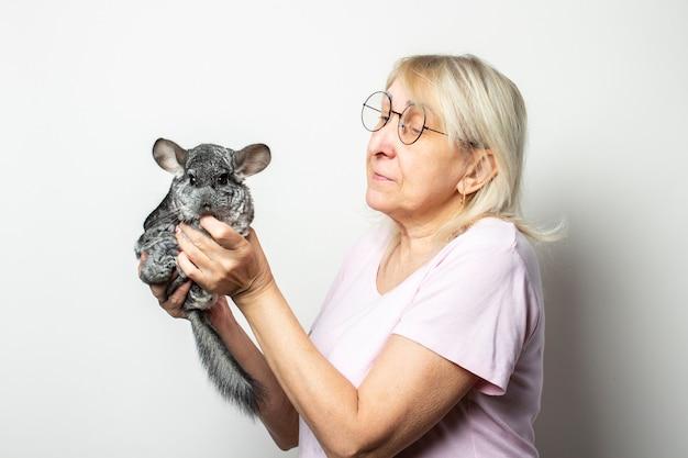 Tシャツと孤立した光の壁に彼女の手でチンチラを保持しているメガネのフレンドリーな老婆の肖像画。感情的な顔。ペットのコンセプト
